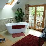 Soaker tub in room