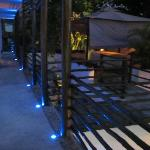 Upstairs walkway at night