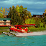 Guests departing the lodge by floatplane
