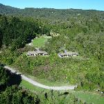 View of the lodge from a helicopter