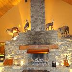 Fireplace inside the main lodge