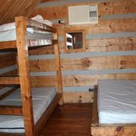 View beds in camping cabin