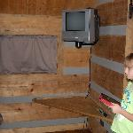 Inside camping cabin tv