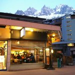 Outside Satsuki with a view of the Aiguilles