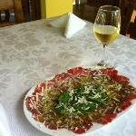 Carpaccio and white Italian wine!