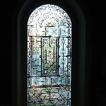 stained glass window in the hallway