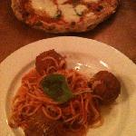 margarita pizza, meatballs & spaghetti