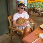 My wife, the cat lover - at the Goat Island Cafe