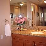 Unit 392 has two vanities in master bath and full second bathroom