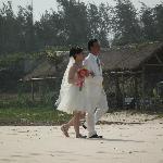 We saw a wedding by the beach..