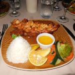 Coconut crusted snapper and grilled shrimp with coconut rice
