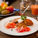 Delicious corn cakes and lox