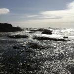 waves crashing on Glass Beach.