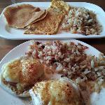 Pancakes & omelet; Eggs Benedict