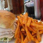 Fat Sat's Soaring Eagle turkey sandwich with sweet potato fries