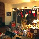 nice living room w/woodburning fireplace in Campwater house (we decorated)
