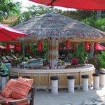 pool bar next to beach restaurant, very cool