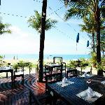 Sassi's Beacj Club terrace right next to the beach