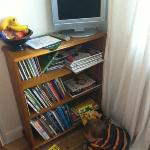 Kids books in room,plud lcd tv with dvd player