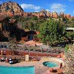 Beautiful view of the pool, spa and red rocks from the Observation Deck