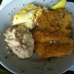 potato crusted Tripletail with corn pudding and mashed potatoes