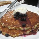 Blueberry Buttermilk Pancakes w/blueberry ginger preserves & toasted almonds