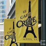 Banners outside Cafe Crepe