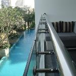big balcony overlooking the pool