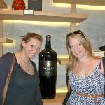 me and elly with a large bottle of vino