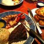My dinner @ Red Lobster: wood-grilled lobster, peppercorn steak, crab cakes, and red-skin potato