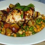 chicken with butter beans, peas, chickpeas and chorizo