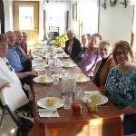 Meal in Amish home - tour company owner, Ms. DeBois, is at right.