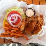 Fried Grouper sandwich with sweet potato fries