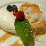 Coconut carmel flan with ice cream
