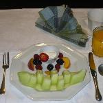 Begin your day with a fresh fruit plate.