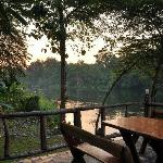 The riverside stone deck.  Watching sunrise here.