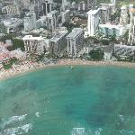 Aerial view, Outrigger has the blue umbrellas out front
