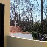 Private terrace and front door to the Studio Apartment, overlooking historic 14th c. chapel
