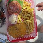 Chicken burger and fries