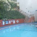 the swimming pool and area is quaint and clean.
