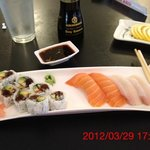 Thick Sake Nigiri with no taste. Tiny little Rock and Roll
