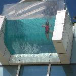 Nice glass bottom feature of pool
