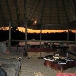 view from main lodge at dusk