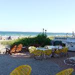 le paterre du motel, juste à côté, la plage !