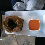 Brown-bag ramps. Smoked sea salt. charred-tomato vinaigrette.