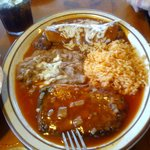 Beef Enchilada and Chile Relleno Combo-ask for whole beans
