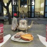 Welcomed with mint tea in the courtyard