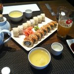 Sake, green tea and tempura sushi
