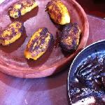 plantains stuffed with Black beans and chocolate.