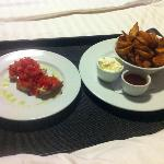 Bruschetta and wedges - fantastic!